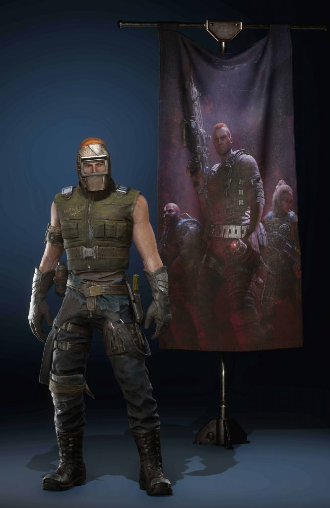 Mechanic Mac skin from Gears 5 with a Hivebusters Banner behind him