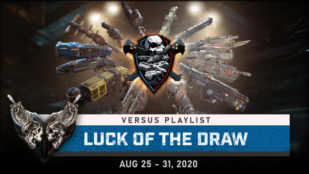 """Blog header image for the TWIG article for August 25, 2020, featuring a dozen different weapons for the """"Luck of the Draw"""" versus playlist"""