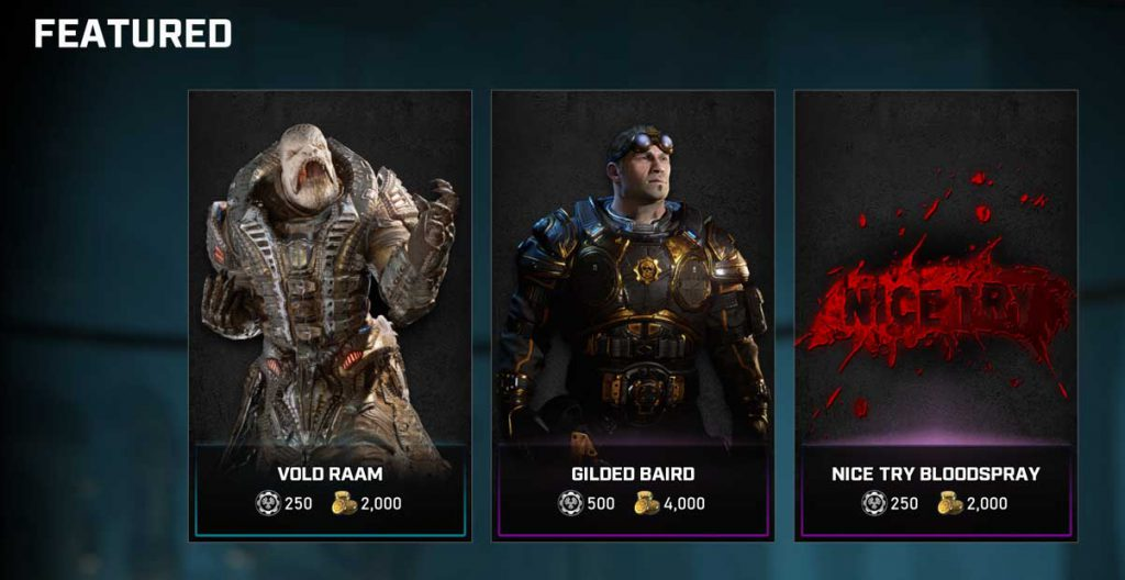 The featured items in the Gears store for the week of Sept 1, 2020