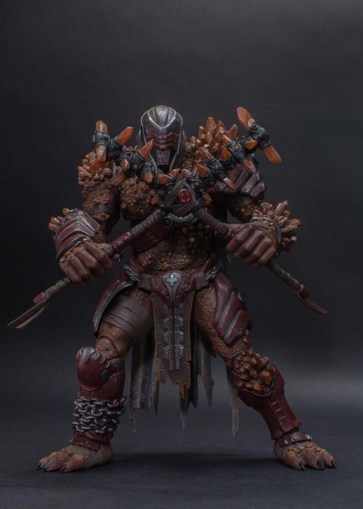 A Warden Statue in a battle pose