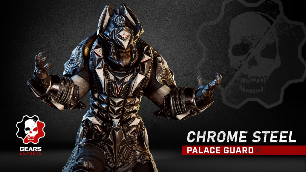The Palace Guard Chrome Steel Skin, now available in the Gears 5 Store for a limited time.
