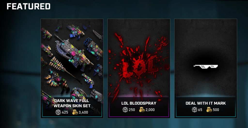 The featured items in the Gears store for the week of September 28, 2020