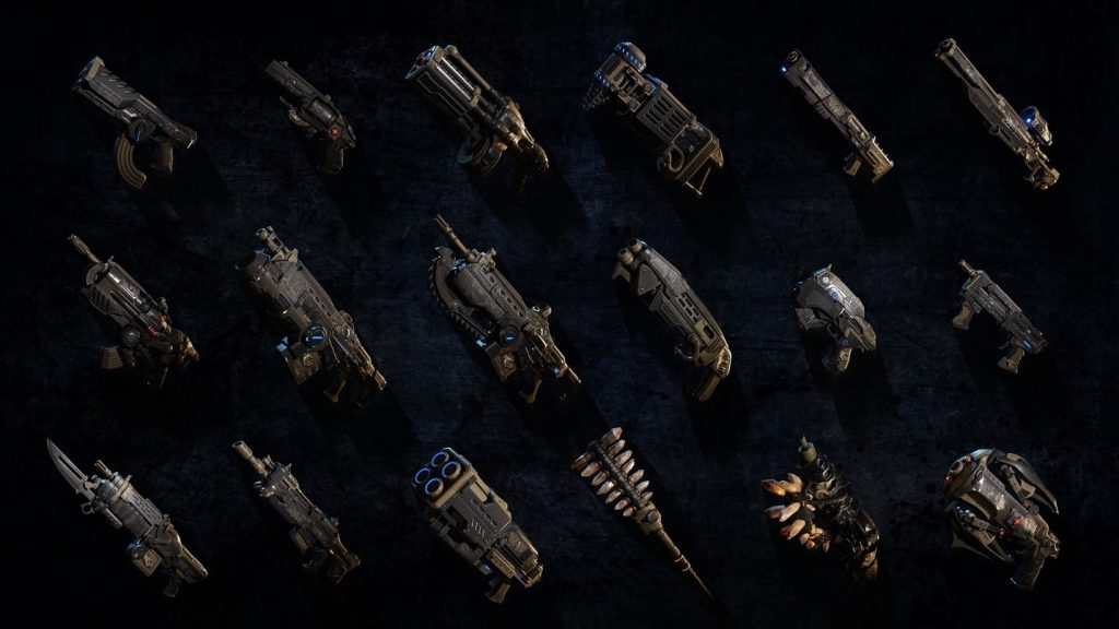 A collection of the different Gears of War weapons available to use in the game's different modes, celebrating the game's one year anniversary.