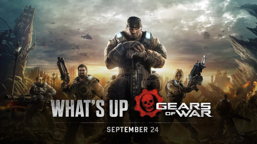 The blog header image for the Sept 24 What's Up blog post. Features the Gears of War 3 key art, including Marcus front and center