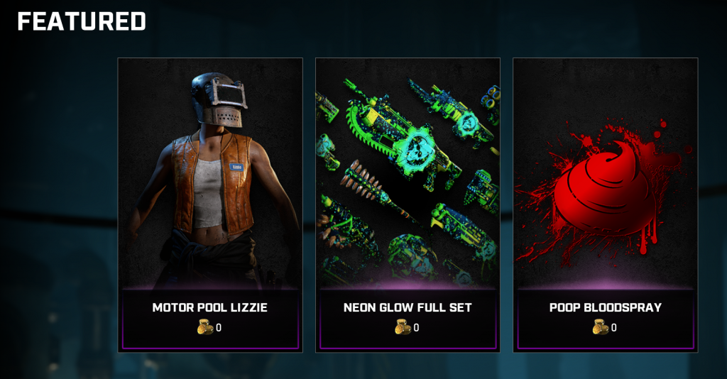 The featured items in the Gears store for the week of October 6, 2020