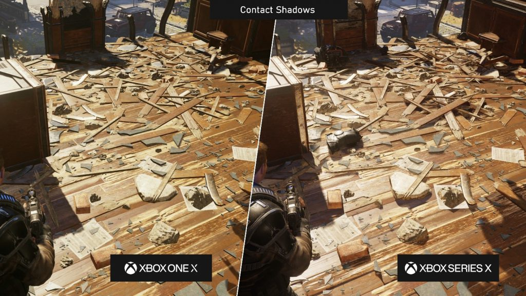 A side-by-side comparison of the visuals of Gears 5 on Xbox One X and Xbox Series X