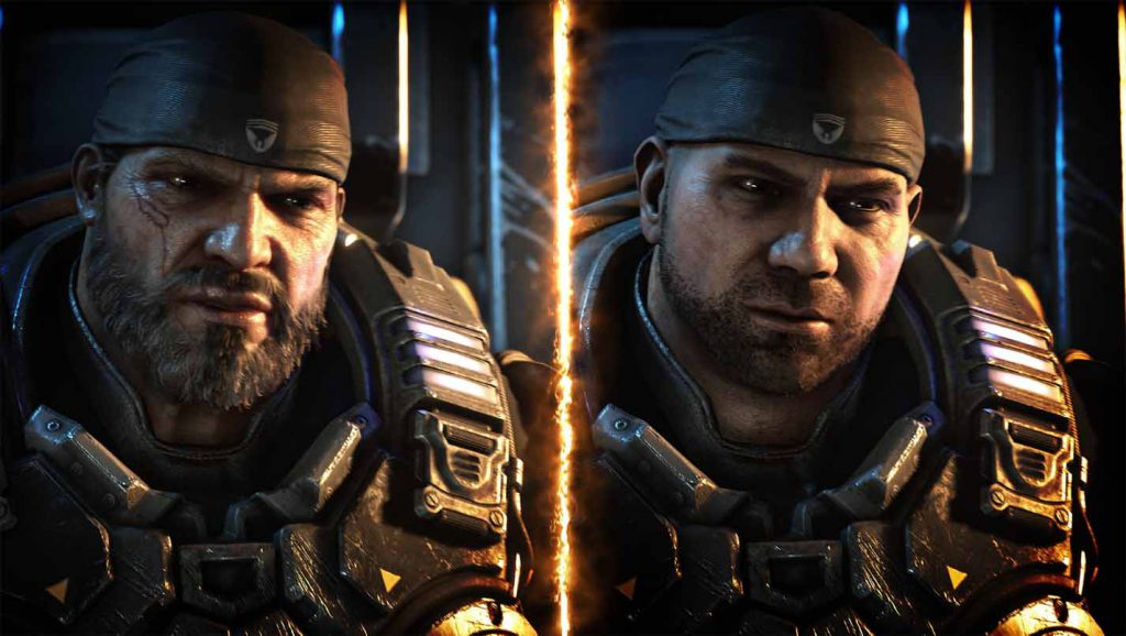 A side-by-side picture featuring Marcus Fenix on the left and Batista on the right.