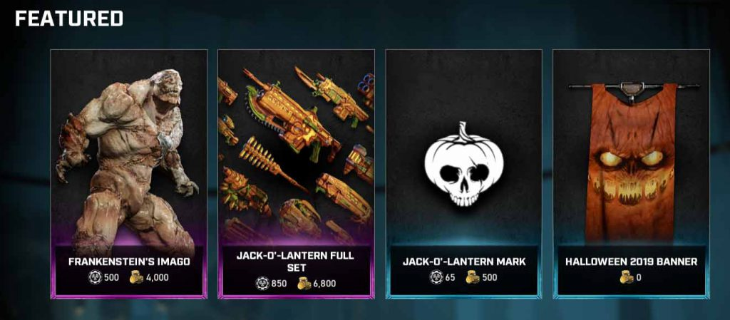 The featured items in the Gears store for the week of Oct 27, 2020