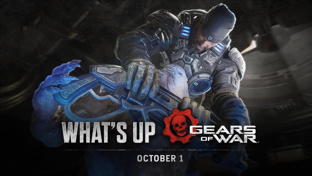 The header image for the Oct 1 edition of What's Up featuring Marcus Fenix choking out a Locust enemy.