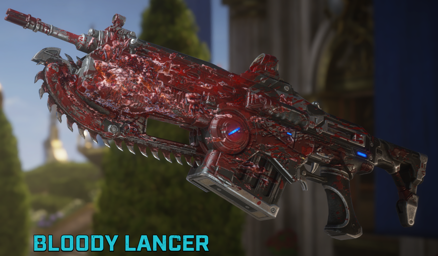 The Bloody Lancer is seen against a Gears 5 background. It is part of the Bloody Weapon Set and is earnable in the Classic Horde medal group.