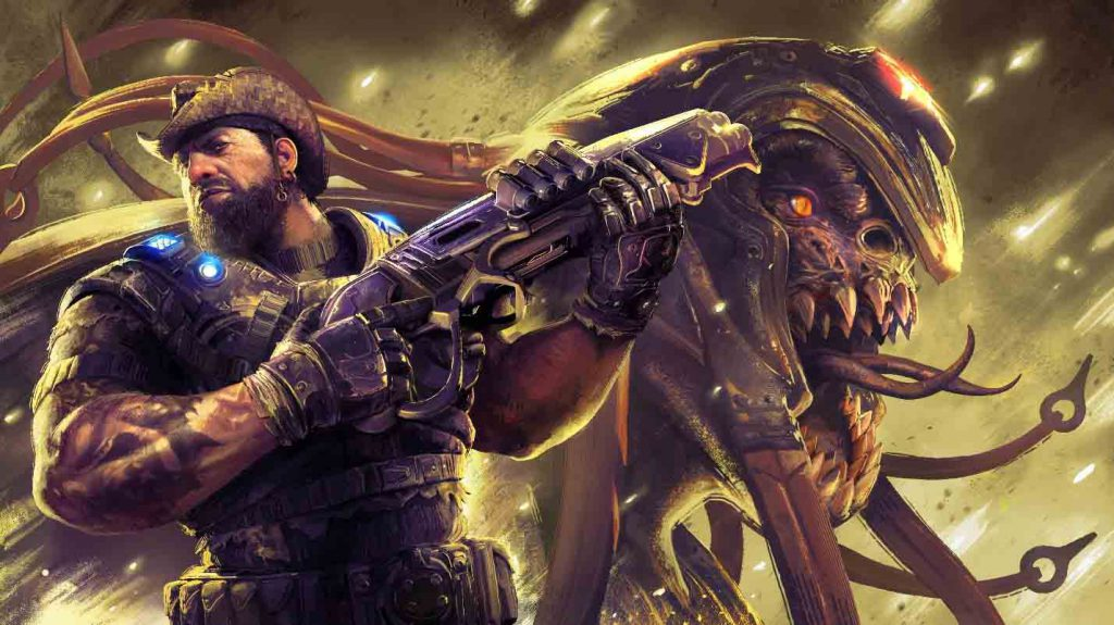 The Operation 5 Hollow Storm key art which features Dizzy Wallin holding a gnasher and a Locust Skorge screaming behind him