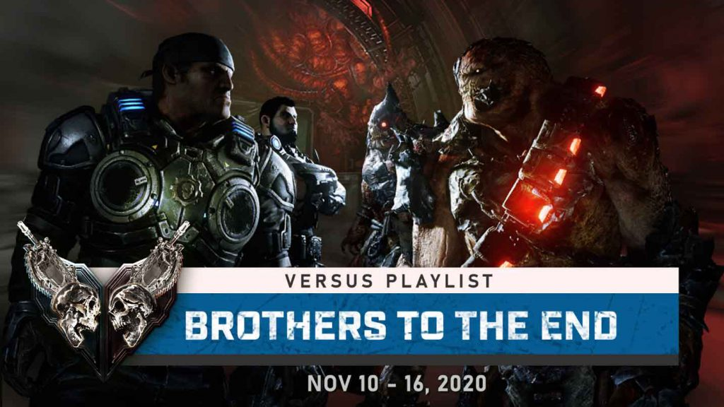 This Week In Gears header image for Nov 10, featuring an angry and younger Marcus and Dom confronting two Locust enemies.