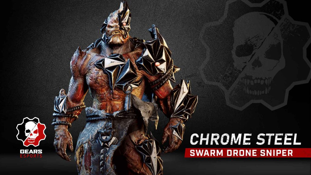 Chrome Steel Swarm Drone Sniper skin, available now in the Gears Store