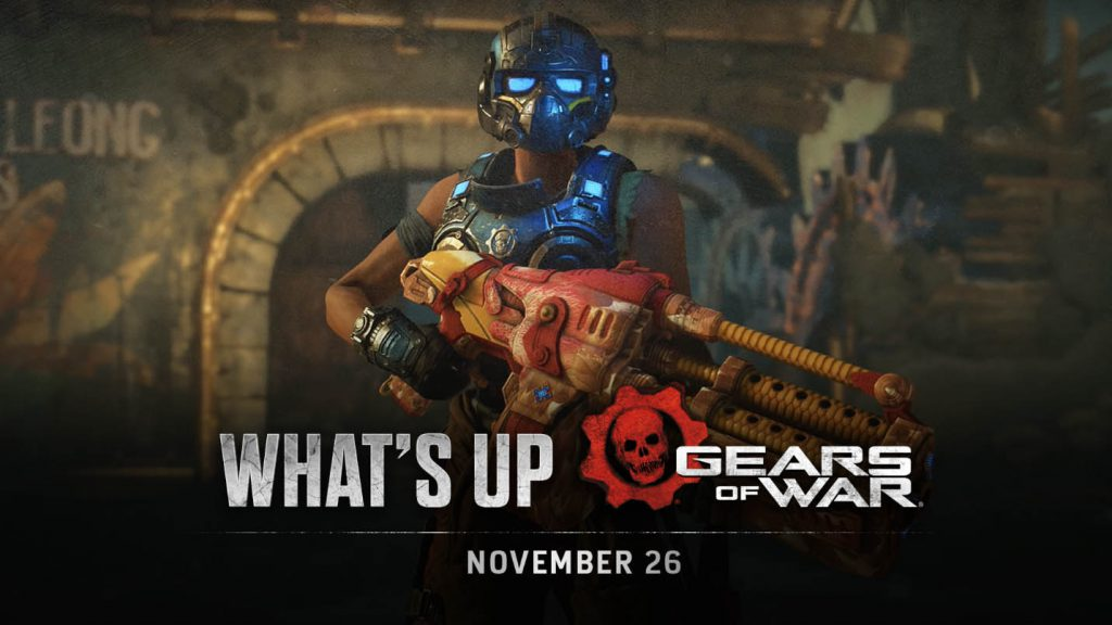 The November 26 What's Up Header Image featuring Lizzie Carmine holding a Thanksgibbing-skinned weapon