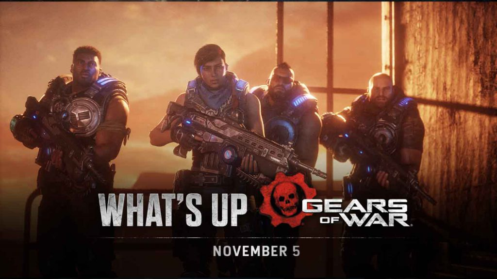 The header image for the Nov 5 edition of What's Up, featuring the four main characters of Gears 5 facing towards the screen