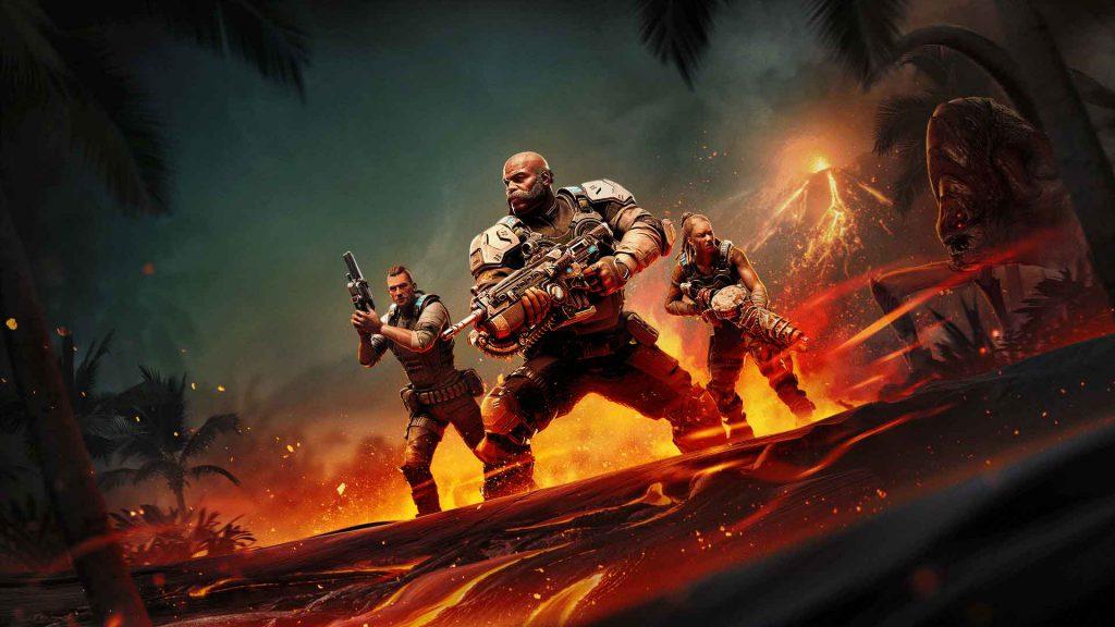The Hivebusters DLC key art, featuring the three members of Scorpio Squad (Mac, Keegan, and Lehani)
