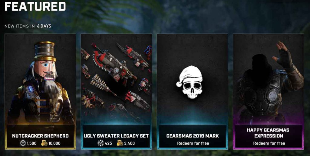 The featured items for the Gears 5 store for December 17 until December 22