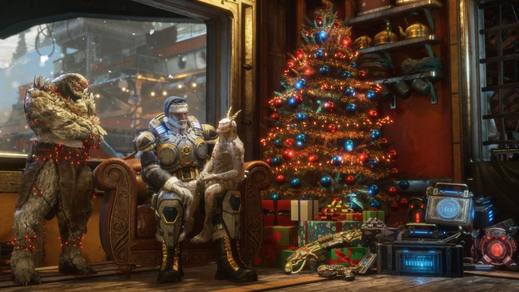 Various Locust characters sitting beside a Father Gearsmas Marcus in a comical festive setting, sitting by a large Christmas tree