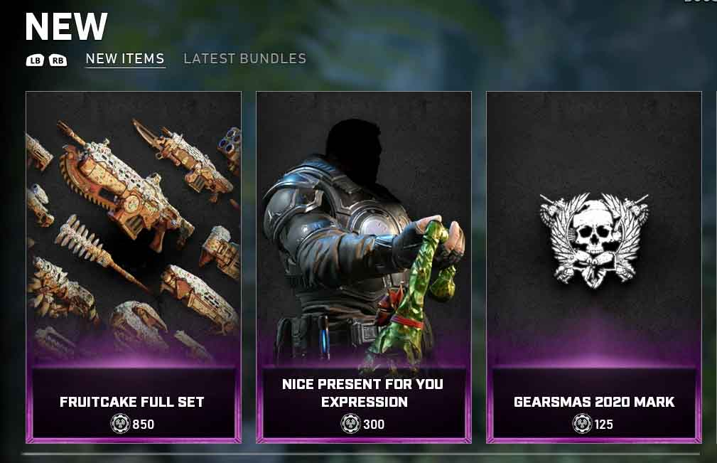 New items for from the Gears Store for the duration of the 2020 holidays