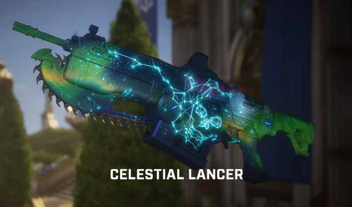 The celestial lancer skin, available for a limited time in-game