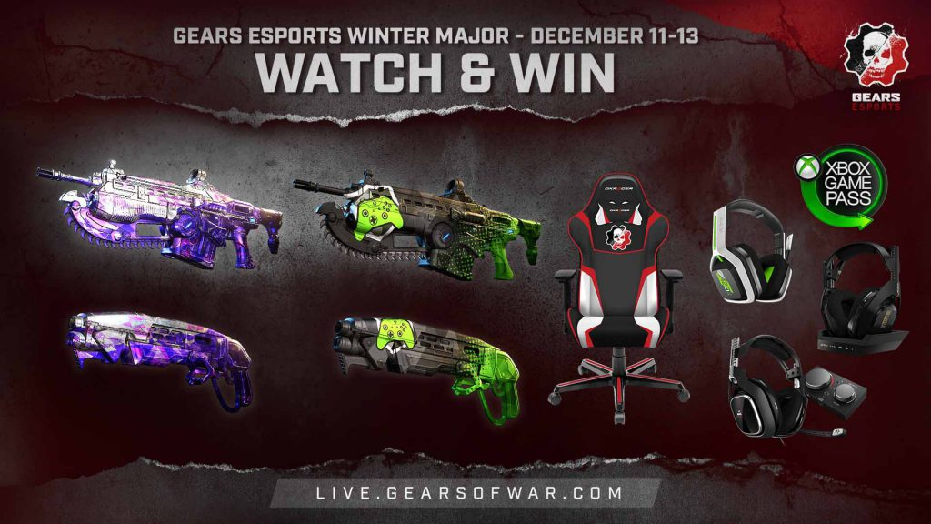 Examples of a few of the in-game and physical prizes available for watching the Gears Esports Winter Major