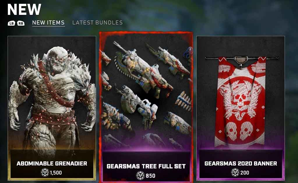 The new items for the Gears 5 store for December 17 until December 22