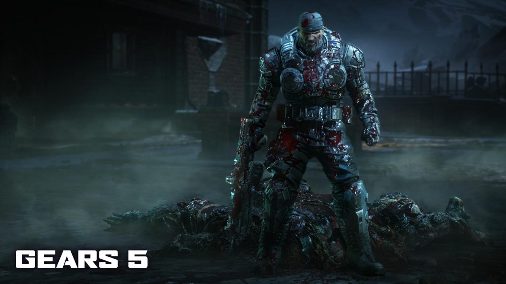 a blood-stained Marcus standing in front of a pile of dead Locust bodies