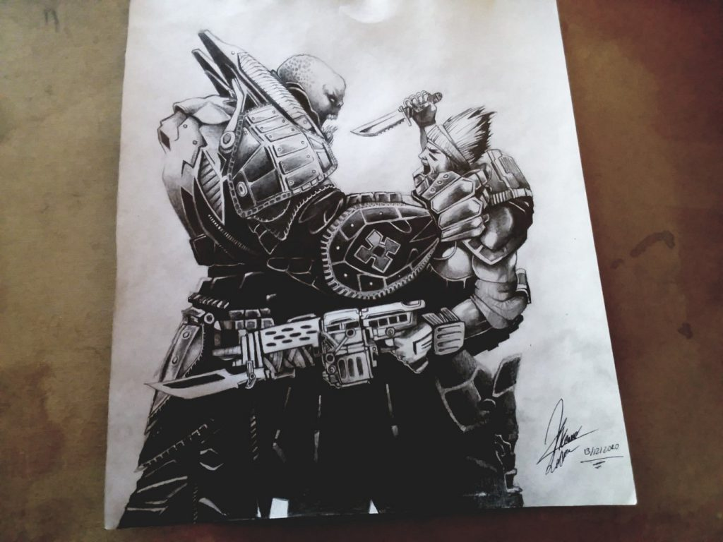 A fan created drawing of General RAAM and an unknown COG soldier fighting