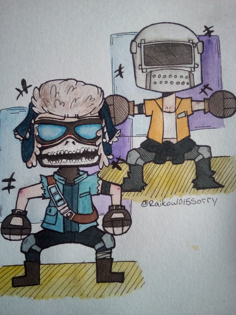 A user created drawing of two Carmine characters
