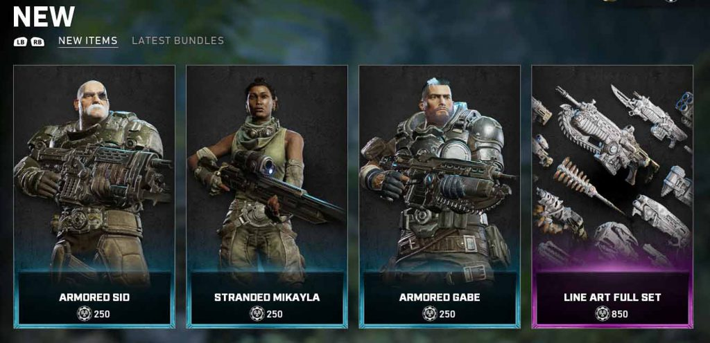The new items available now in the Gears 5 Store