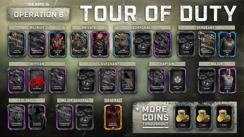 Showing the different Operation 6 Tour of Duty rewards from Recruit all the way to General.