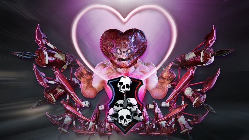 The Valentine's Day featured art with a Locust enemy with a heart-shaped head with pink-themed weapons surrounding him