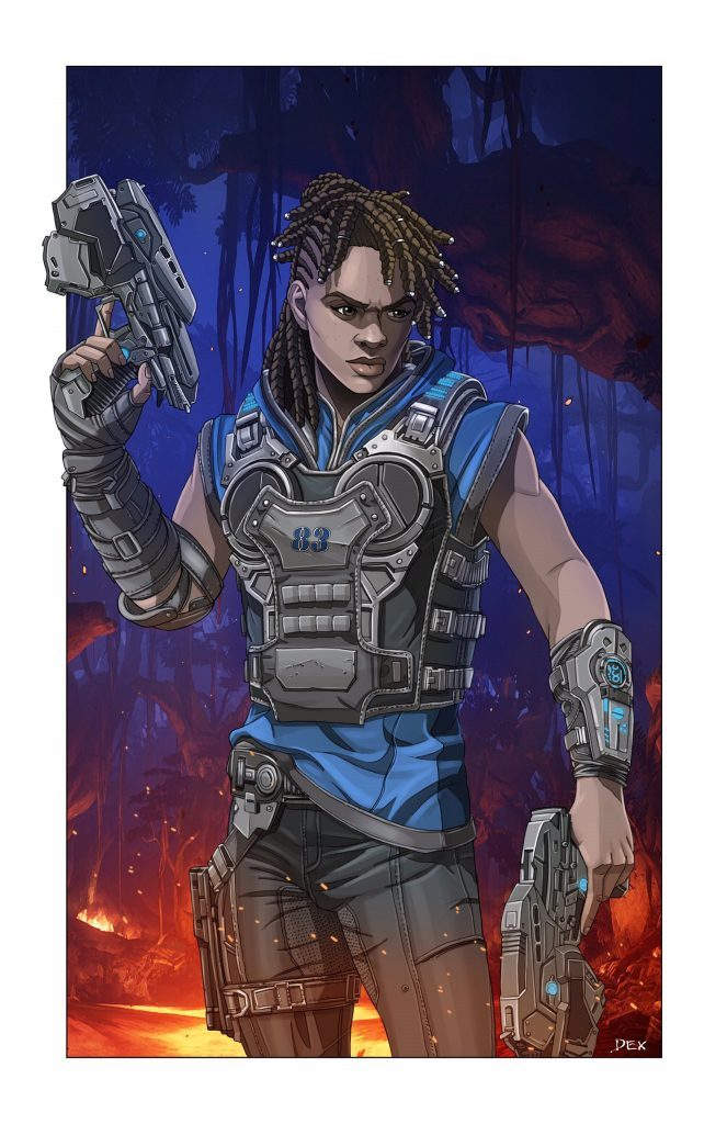 Hana Cole in combat fatigues, as drawn by Dexter Weeks