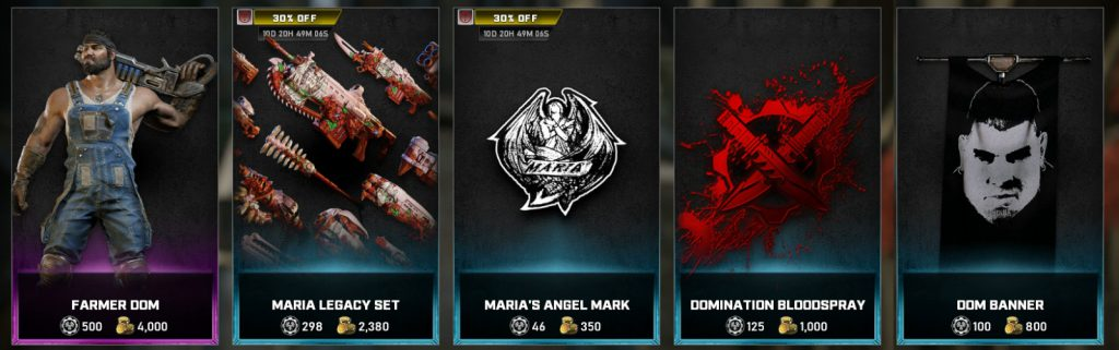 The featured items, now available in the Gears 5 store for the Week of March 22