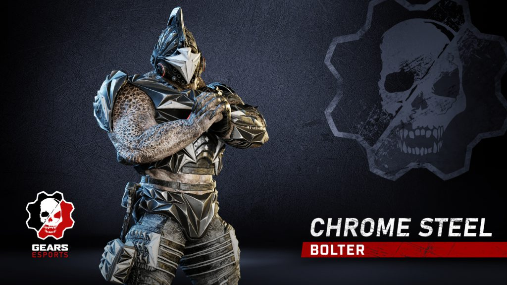 The Chrome Steel Bolter skin, available in Gears 5 for a limited time