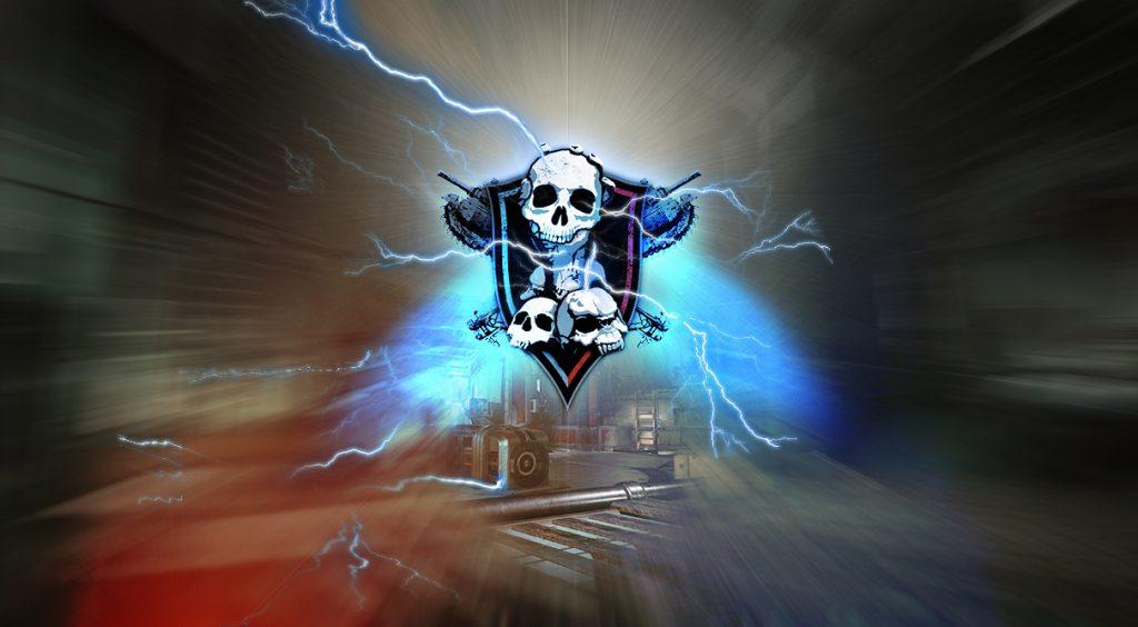 The Versus Dodgeball logo on a lightning background