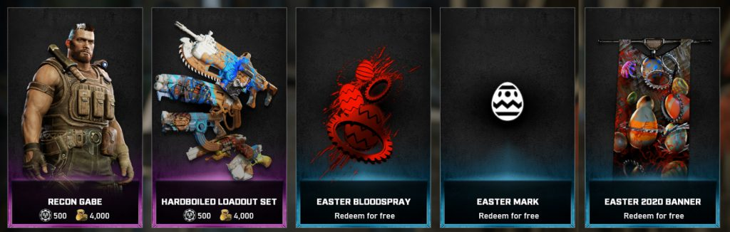 The featured items available in the Gears store for the week March 30 until April 5