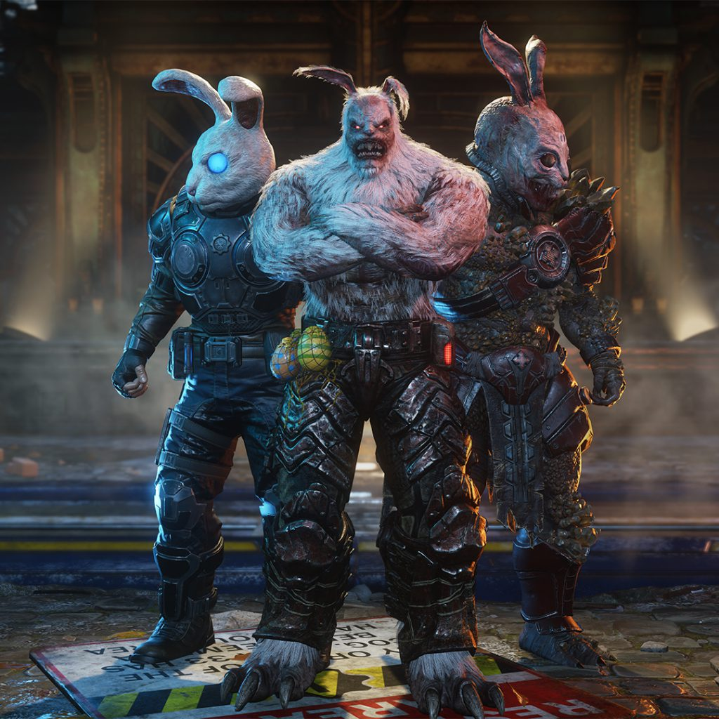 Highlighting the Easter-themed skins for Gears 5