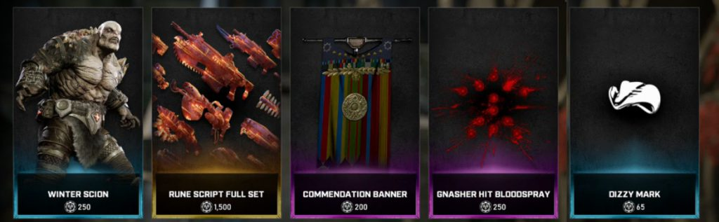The new items available in the Gears store for the week March 30 until April 5