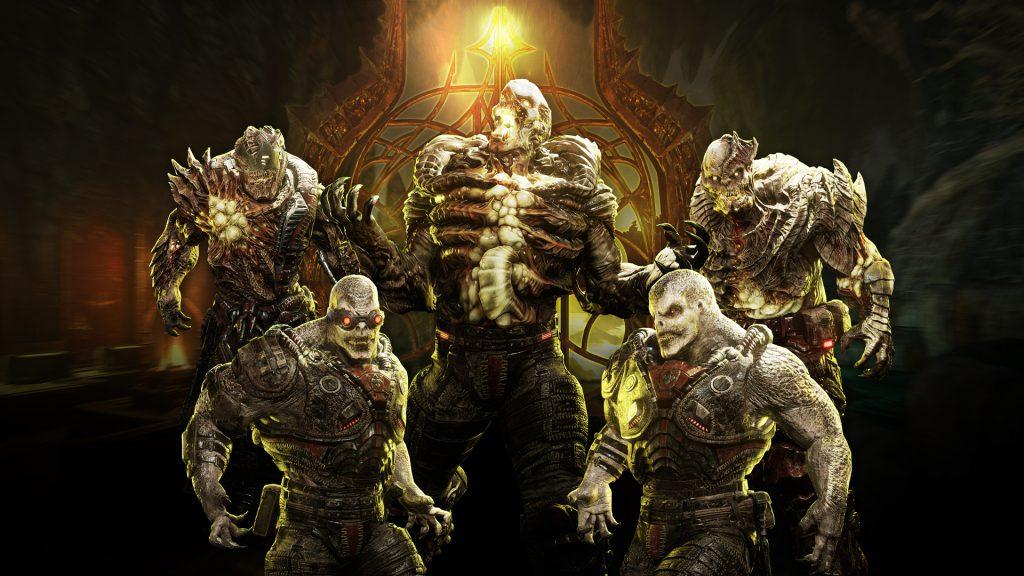 Five Locust enemies in different stances, part of the new Nexus Siege Horde Event