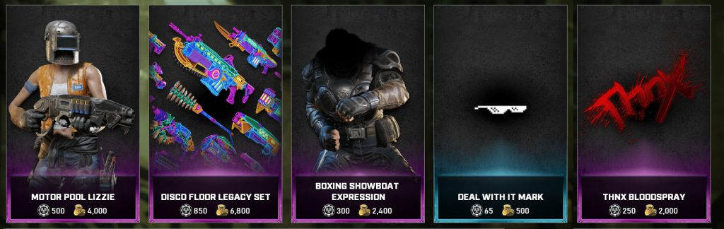 The featured items available in the Gears store for the week April 13 through April 19