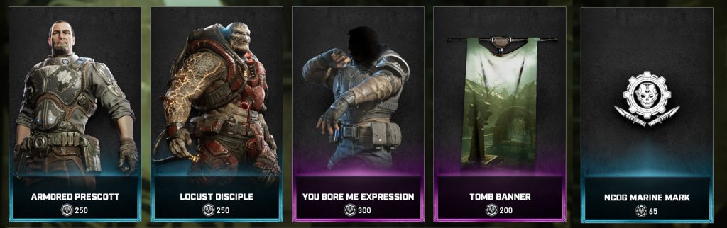 The new items available in the Gears store for the week April 13 through April 19