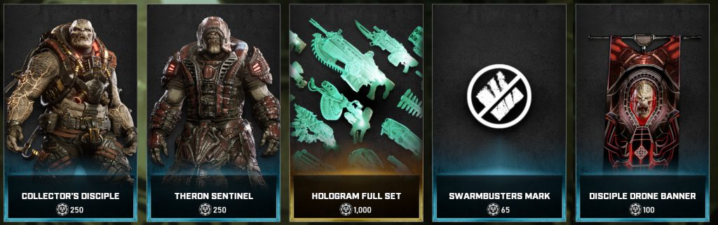The new items available in the Gears store for the week April 20 through April 26
