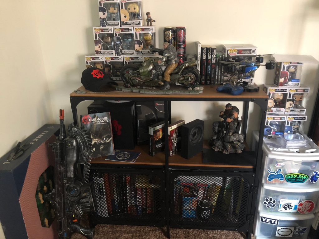 """Twitter user """"MattGringas""""' collection of Gears-related collectibles"""