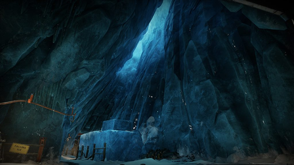 An ice cavern from The Mines map