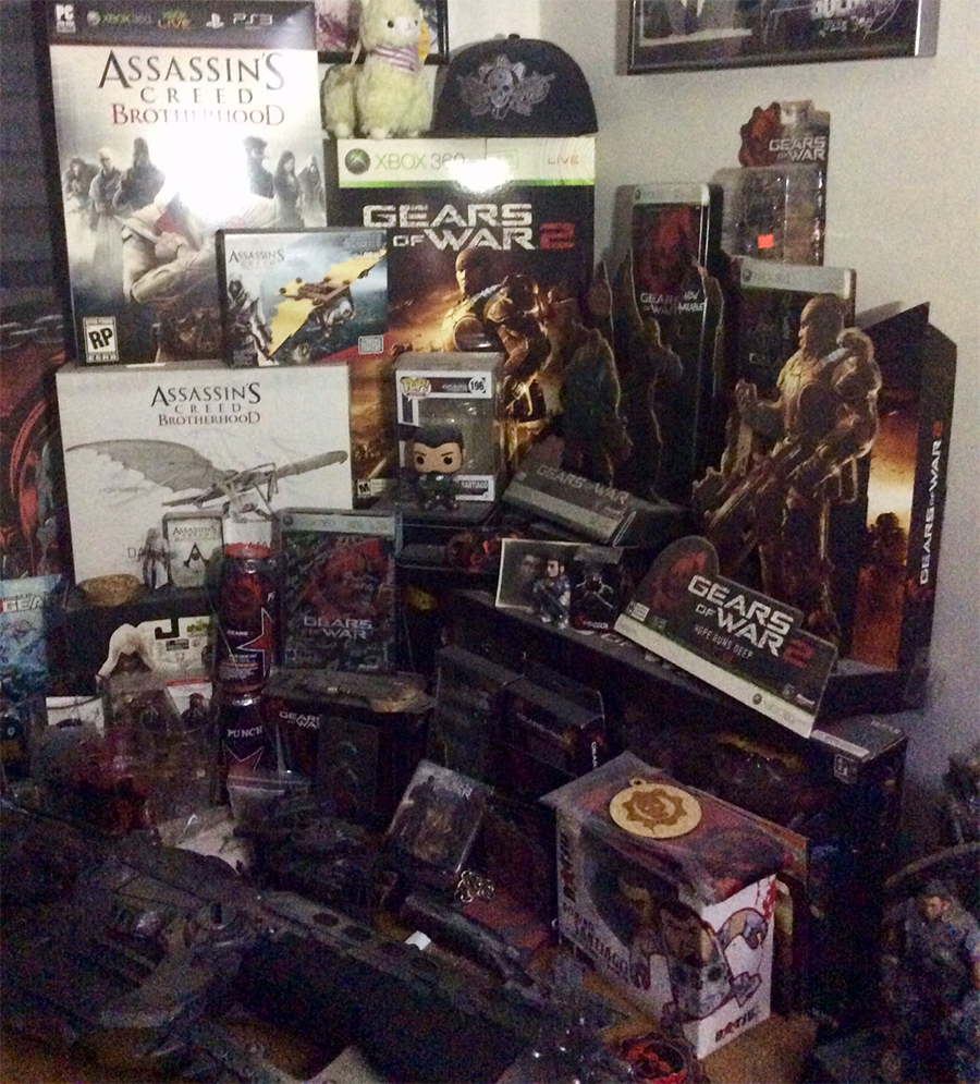 A room showing off a collection of Gears-related collectibles