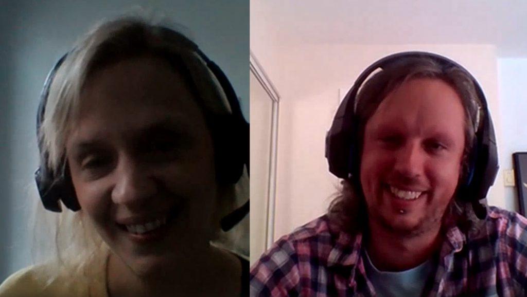 Headshots of Katie Scott and Matt Booth chatting over Microsoft Teams
