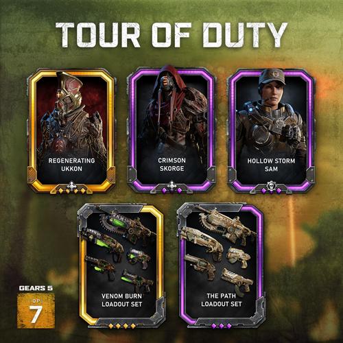 Five of the Tour of Duty rewards coming to Operation 7, including Regenerating Ukkon, Crimson Skorge, Hollow Storm Sam, The Vemon Burn loadout set, and The Path loadout set