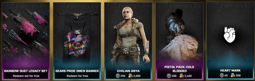 The featured items for the Gears 5 Store, available starting June 1 until June 8