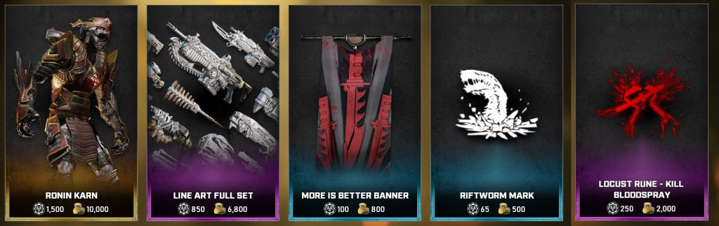 The featured items in the Gears store for the days between May 18 and 24